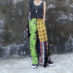 High Street заплатки повседневные брюки для мужчин и женщин Сыпучие Клетчатые брюки Side Botton Брюки