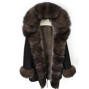 Furtjy 2020 New Real Fur Parkas per le donne Inverno Outwear con colletto di pelliccia naturale Giacca nera 90 cm Cappotti lunghi Plus Size