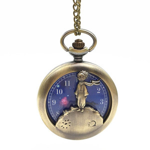 The Little Prince Pocket Watch Ancient Bronze Fob Watch Necklace Fashion Jewelry For Women Kids Gift Drop Shipping