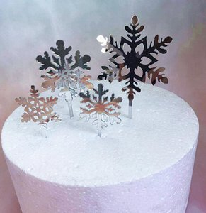 DHL 4pcs set Snowflake Cupcake Toppers silver blue Cake Topper Picks for Christmas happy Birthday Party Baby Shower Wedding Cake Decoration