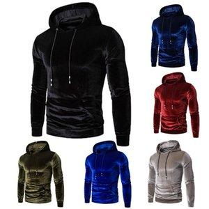 Para hombre otoño invierno climatizada hoodies flojos chaqueta de lana con capucha del tamaño extra grande de oro masculino de terciopelo con capucha brillantes de las tapas de alta calidad