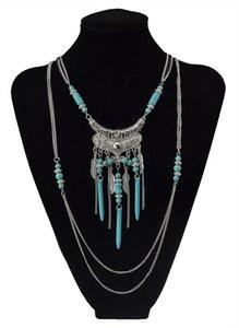 Ретро богемный многоуровневый с бирюзовым сердцем подвеска мода обаяние ювелирные изделия ожерелье для женщин мода ювелирные изделия