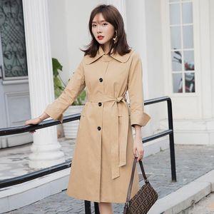 YIGELILA Autumn New Arrivals Khaki Coats Single Breasted Full Sleeves With Belt Coats Office Lady Turn Down Collar 9984