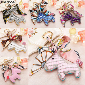 Cute Little Horse Pony Animal Key Chain Strass Keychain For Women Creative Gift Gold Metal Key Ring Bag Charm Porte Clef Toys