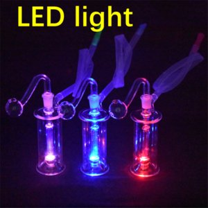 LED Glass Oil Burner Bong pyrex Glow in the dark small Bubbler Bong MiNi Oil Dab Rigs for Smoking Hookahs with 10mm glass oil burner pipe