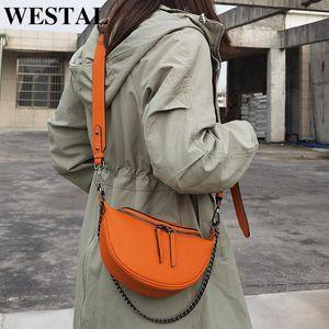 Sacs de messagerie Westal Sacs Messenger en cuir Sacs à bandoulière de marque pour femmes Sac à bandoulière de luxe et sacs à main 8013