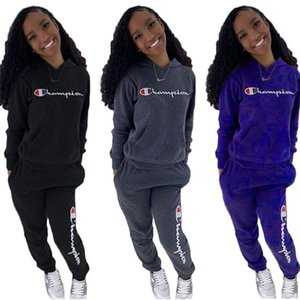 Champions Brand designer Women Thick tracksuits Outfits Jogger suit two pcs set Hoodies+Leggings winter clothes Long sleeve Sweatsuits 4195