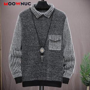 Informal suéter masculino 2020 nuevo de la manera suéter a rayas para los hombres de alta calidad del otoño del resorte de la manga larga delgada Hombre MOOWNUC Juvenil
