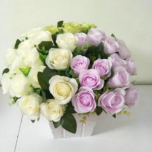 18 Heads Artificial Rose Bridal Flower Fake Colorful Party Elegant Floral Silk Ornament Home Decor Garden Wedding Bouquet DIY