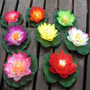 Couronnes de fleurs décoratives artificielles 10cm flottant lotus fleur maison fête de mariage décorations de mariage bricolage eau lys faux plantes bonsai sztuculzne