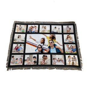 9 Penels Blankets Sublimation Blank Blanket With Tassels 9 15 20 Grids Mat Heat Transfer Printing Sofa Blankets Throw Blankets w-00576