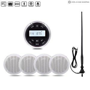 "Marine Stereo Boat Radio Audio Bluetooth FM AM Receiver Car MP3 Player For Motorcycle RV ATV+4"" Waterproof Speaker+Radio Antenna"