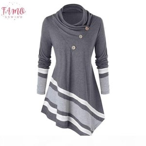 Plus Size 5Xl Fashion Turtleneck Blouse Casual Winter Ladies Striped Polyester Tunic Tops Female Womens Long Sleeve Shirt Blusas Pullover