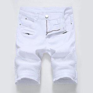 MENS TRADE High Street Zipper Stretch European American Denim Denim White Shorts Negro Agujeros en pantalones para hombre Hombre en Jean Short