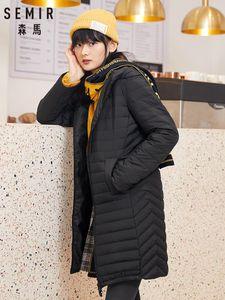 SEMIR Long down jacket women 2020 winter new light familiar wind black thick warm jacket casual trend ladies clothing