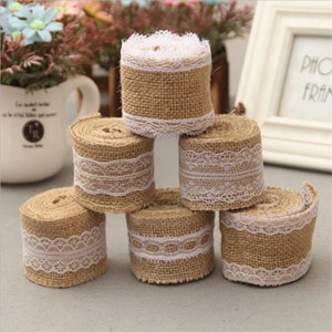 DIY 2Meter Roll Width 5cm Jute Burlap Rolls Hessian Ribbon With Lace Rustic Home Party Decoration Ornament Burlap Wedding Favor AL7561