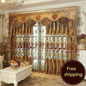 Custom curtain Luxury European embroidery villa bedroom Water-soluble edge embroidery cloth curtain valance tulle sheer E760