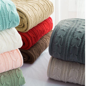100% cotton high quality handmade soft knit blanket bed blanket beige, red,brown,blue white, gray, pink knit sofa