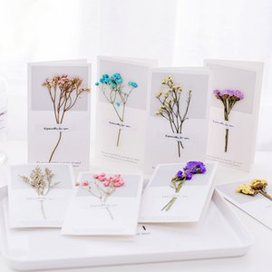 Gypsophila Dry Flower Greeting Card Handwritten Blessing Greeting Card Birthday Gift Card Wedding Invitations 6 Colors