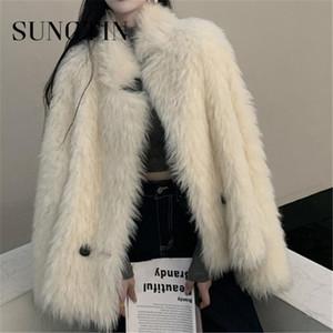Sungtin 높은 품질 우아한 베이지 색 고체 가짜 모피 밍크 코트 Jecket 2020 따뜻한 겨울 여성 패션 느슨한 모피 Jecket Streetewear