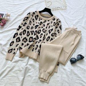 2021 Merchall New Fashion Otoño de otoño Traje de invierno Traje Jogger Mujeres Punto de Punto Suéter y Pantalones Dos piezas Set SLTM