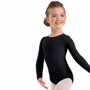 Catsuit 의상 싱글 푸에스 유아 긴 소매 체조 핑크 Lycra 스판덱스 Bodysuit 발레 댄스 키즈 1