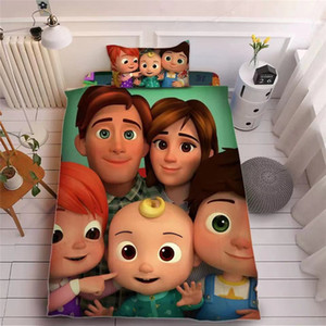 Cocomelon Ji 3D Printed Bed Sheet Three Pieces Sets Pillow Case + Bed Sheet + Quilt Cover Beddings Lovely Kids CoCoMelon Supplies LY118A