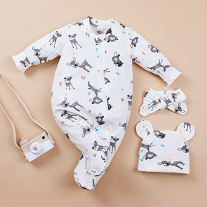 Baby Deer Long Sleeves Jumpsuits+Hat Set Fall 2020 Kids Boutique Clothing 0-24m Newborn Infant Cartoon Bodysuits Stylish Baby Clothes