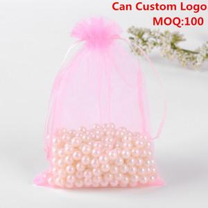 Новый 13x18cm Розовый Упаковка Drawable органзы подарочные пакеты сумки Embalagens Para Doces Тюль Bomboniera Bolsas TUL