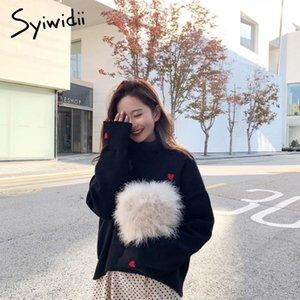 jersey de las mujeres syiwidii suéter bordado corazón de cuello alto suéter de punto ropa de invierno alas de murciélago de manga Mujeres top coreano nuevos 200929