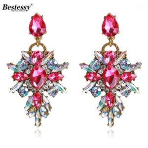 Dangle & Chandelier Essy 7 Color Flower Big Brand Design Luxury Starburst Pendant Crystal Drop Earrings Gem Statement Jewelry1
