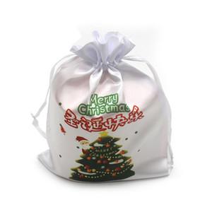 Sublimation Candy Bag Noël Blank blanc bricolage transfert thermique Sac à cordonnet de poche Ensemble rangement bracelets cadeau Bijoux Sacs F102206