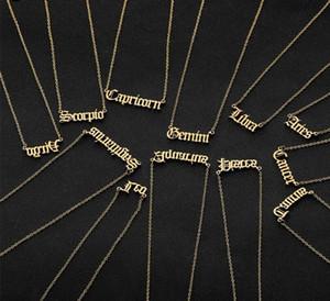 Monili regalo collana Constellation personale della lettera collane zodiacale inox su Old English pendente compleanno
