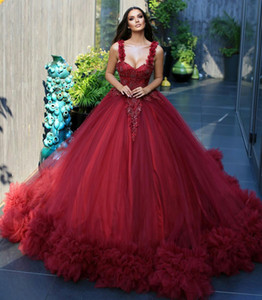 Red Wedding Dresses A Line Square Neck Full Tulle Lace Applique vestido de novia with Bow Sweep Train Bridal Gowns Robe