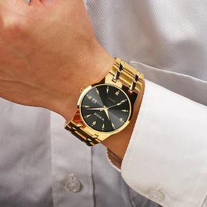 2020 Wwoor Diamond Mens Top Brand Luxury Gold Black Date Quartz Watch for Men Fashion Dress Wrist Watches Relojes Hombre
