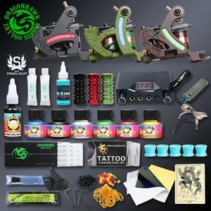 Professionellen Tattoo-Kits Top Artist Komplett-Set 3 Tattoo Maschinengewehr-Futter und Schattierung Inks Strom Needles Versorgung Canadian Tattoo Sup oD9W #