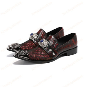 Luxury Classic Leather Men Shoes Metal Tip Slippers Flats Plus Size Sequin Banquet Wedding Dress Shoes