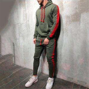 Homens de moda quente executando conjunto 2 pcs respirável esporte ternos tracksuit macho ginásio sportswear hip hop hoodies towetshirts 3xl 201116