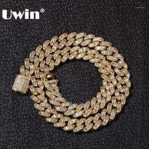 Цепи UWIN Роскошные солодыки Cubic Zircon Miami Baguette Cuban Link цепочка ожерелья HIPHOP SQAURE CZ мода высшего качества мужские ювелирные изделия
