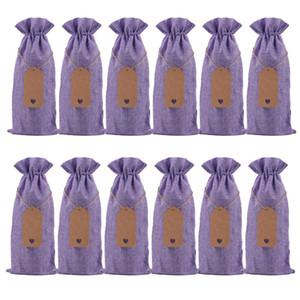 Champagne Weinflasche Cover Leinen-Beutel des Leinen Geschenk-Beutel Burlap Geschenk-Beutel Hochzeit Feste Partei-Dekoration Favor DWC2759