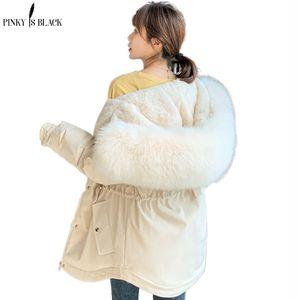 PinkyIsBlack Ladies Wool Liner Thicken Hooded Parkas Women Slim With Big Fur Collar Outerwear Autumn Winter Jacket Women Coat 201014