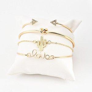 Sale 4 Pcs  Set Women Bracelets Bohemian Leaves Knot Round Chain Opening Gold Bracelet Set Women Fashion Apparel Jewelry 2020 jllmtK