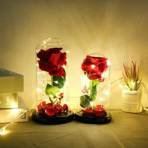 Single Rose Glass Cover Decoration Lamp With Lamp Room Decoration LED Night Light Valentine's Day Gift Wedding Home Decor