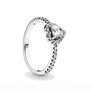 New Women Ring CZ Heart diamond Rings Women Jewelry for Pandora 925 Sterling Silver Wedding RING set with Original box
