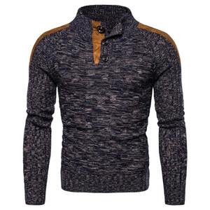Mandarina de los hombres Pollover Cálido otoño invierno patchwork Slim Fit Manga larga No la ropa de YQ Hecha de punto casual de suéter masculino