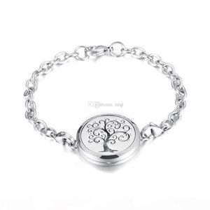 IJP2001 Stainless Steel Tree of life and lotus flower Magnet Essential Oil Aroma Diffuser Perfume Locket link Bracelet Gift For Friends
