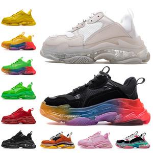 Balenciaga triple s luxurys designers shoes موضة جديدة فاخرة الصورة الثلاثي منصة أحذية رياضية الرجال النساء خمر الأحذية عارضة أبي أزواج كريستال القيعان المدربين واضح وحيد