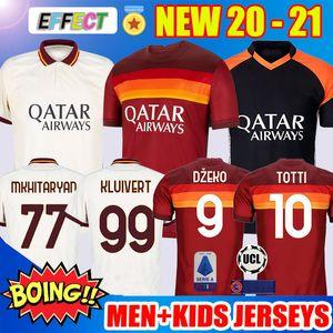 축구 유니폼 AS ROMA FC 축구 유니폼 2020 2021 DZEKO PELLEGRINI TOTTI ZANIOLO MKHITARYAN KLUIVERT ROME Jerseys 20/21 Child Kit Football Shirts