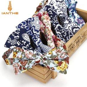 Ianhe novo homem vintage flor de algodão laço de algodão casamento bowtie para homem masculino gravatas moda borboleta gravata gravata