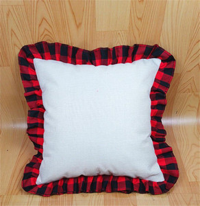 45*45CM Blank Sublimation Red Black Plaid Pillow Case DIY Thermal Transfer Linen Lace Throw Pillow Case Cushion Cover Decorations D102902